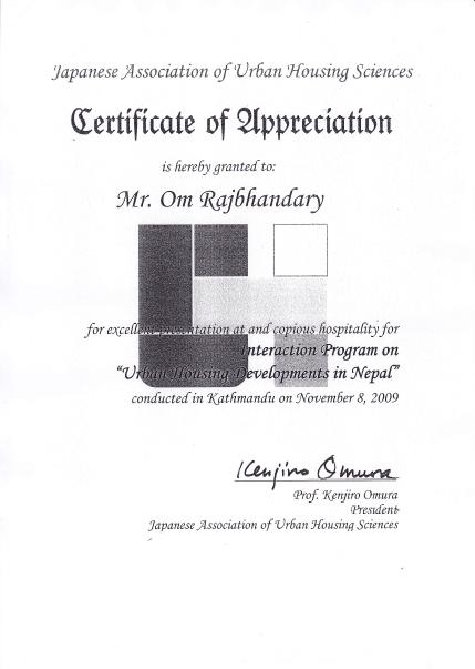 Letter of Appreciation Nov 8,2009