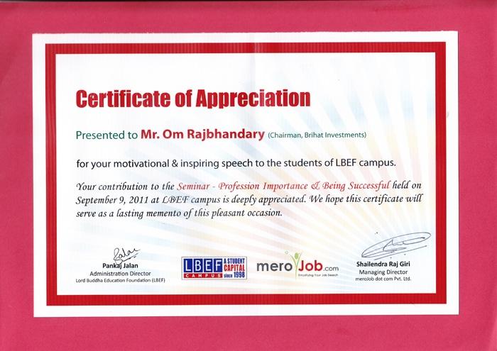 LBEF Certificate of Appreciation
